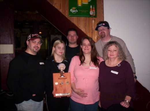 The Trivia Challenge winners (from left to right in the picture): Marc Bourque, Carolyn Bourque, Daniel DeMoissac, Nathalie Bourque, Dwane UnRuh and Ursula Bourque.